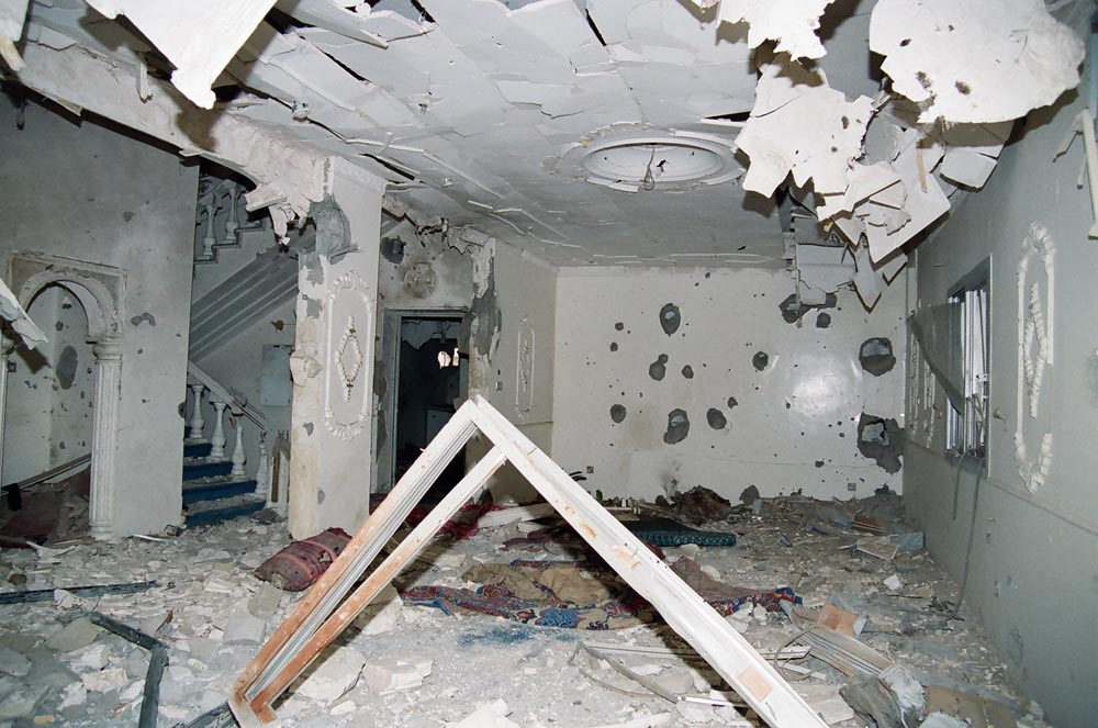Al-Qurain House Interior in 1991  It is hard to understand how a group of resistance fighters in an ordinary suburban house held out for 10 hours against troops armed with heavy artillery and tanks. (See also Overview page 7.)