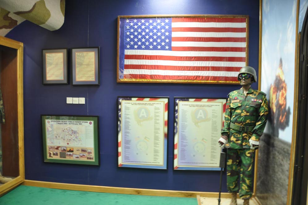 Memorial for American Troops  The Kuwait National Memorial Museum (Bait Al-Watani) has displays for nations whose soldiers died in liberating Kuwait. The title of the plaques read,