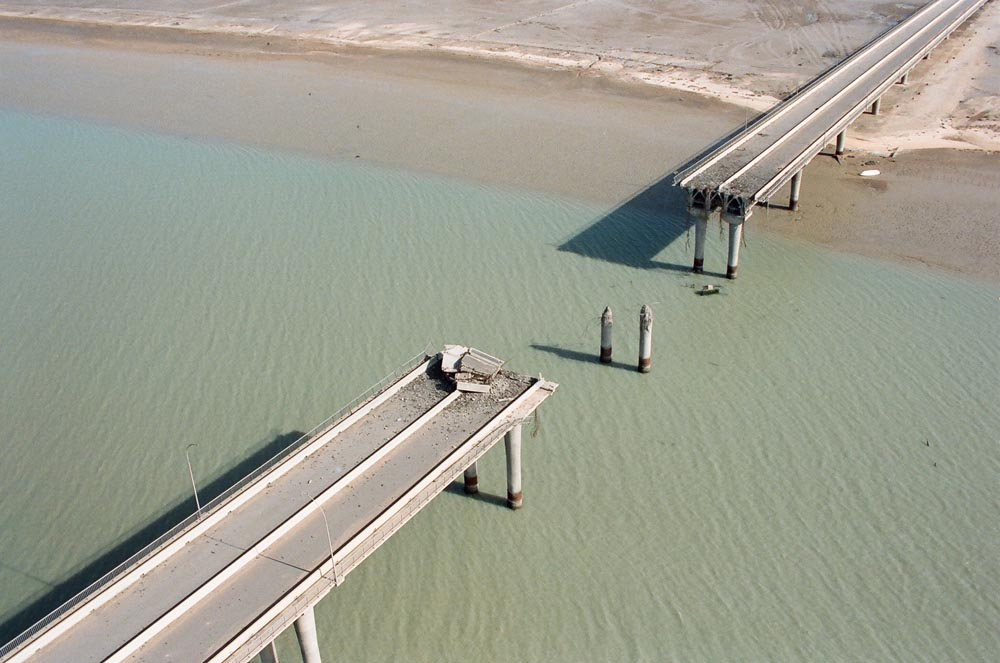 Damage to Bubiyan Bridge  Due to the Iraqi invasion, the bridge was bombed in 1991.