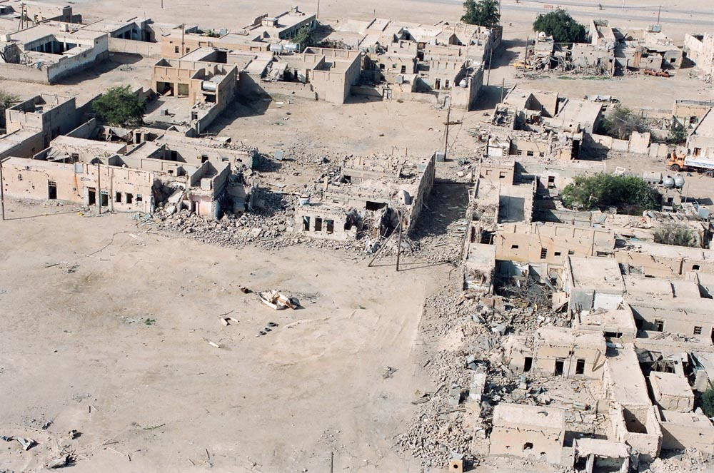 Destruction of Failaka Island  Homes destroyed by Iraqi artillery target practice