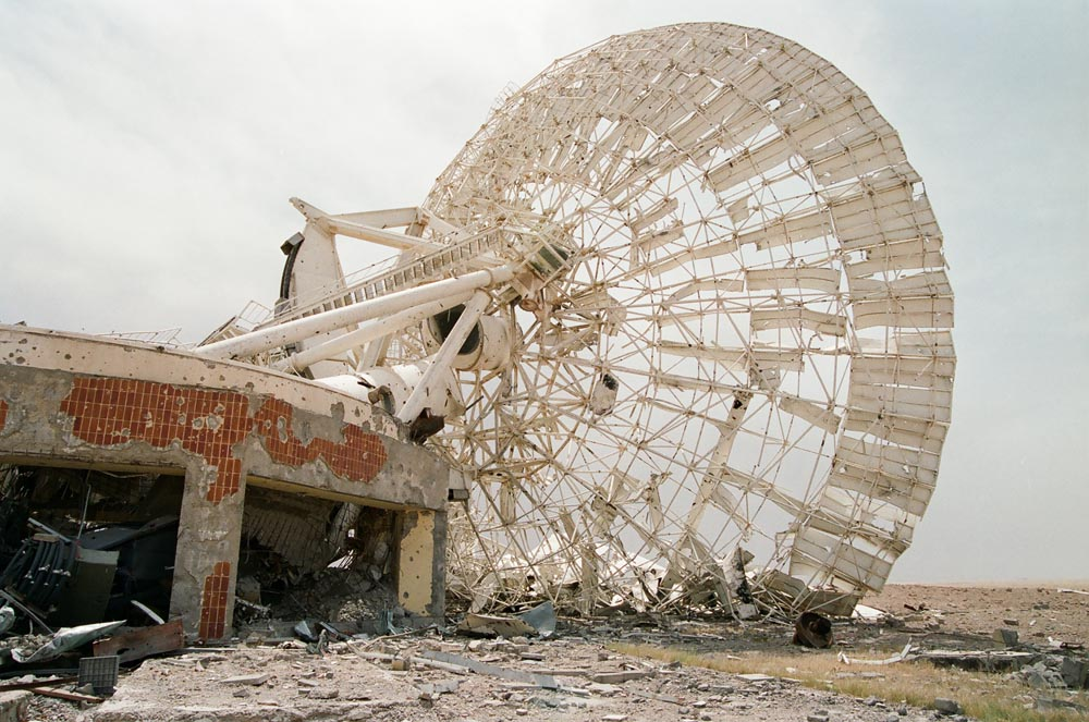 Umm Al-Aish Satellite Dish  This site was a hub for telecommunications, including telephone service and wireless communications for ships, aviation, and the military. It was completely destroyed during the Iraqi occupation.