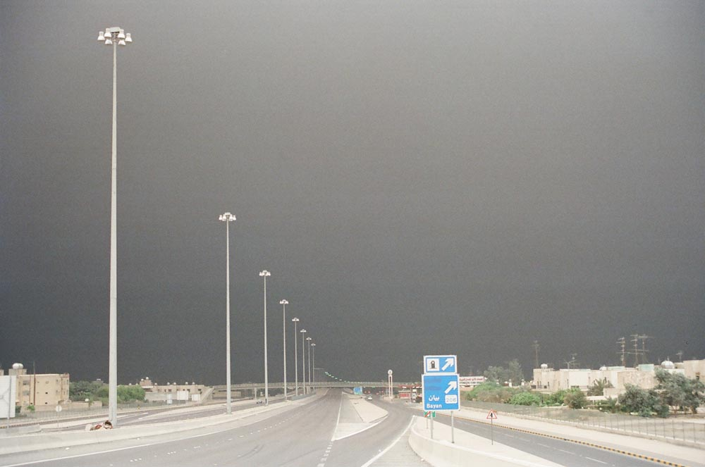 Highway During the Day  Air pollution from the oil fires spread across Kuwait and beyond.